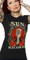 Sun Records- Good Ol' Rockabilly Music- on a girls fitted shirt by Steady Clothing - SALE