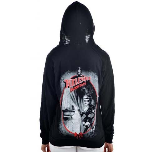 Bloodbath - on a black zip up girls burnout hooded sweatshirt by Too Fast Clothing - SALE