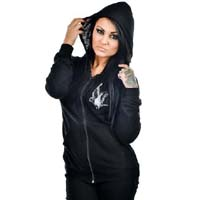 Brandages - on a black zip up girls burnout hooded sweatshirt by Too Fast Clothing - SALE sz M only