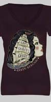 Queen Kerosin Girls Shirt by Timeless Clothing- Sailors Grave in Plum - SALE sz S & L only