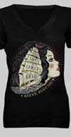 Queen Kerosin Girls Shirt by Timeless Clothing- Sailors Grave in Black - SALE sz S & L only