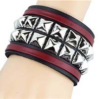 2 Row Pyramid With Leather Straps Bracelet by Funk Plus