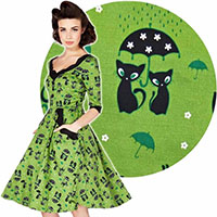 Katnis - Cats in the Rain Flare Dress by Voodoo Vixen - in Green - SALE sz S only