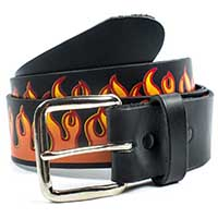 Red Flame on a Black Leather Belt