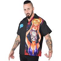 Mars Attacks short sleeve button up Spy Girl Panel shirt by Kreepsville 666 - SALE sz S & M only