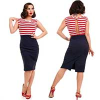 Sally Wiggle Dress By Steady Clothing - Navy/Red - SALE - Plus Size Only