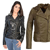 Ladies Lamb Skin Hooded Motorcycle Jacket by Event Leather