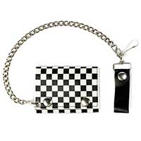 Checkerboard wallet- White & Black (Comes with chain!)