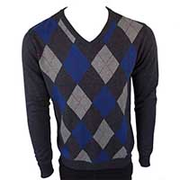 Argyle V-Neck Sweater in NAVY by Warrior Clothing
