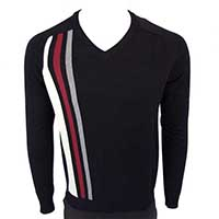 Stripes V-Neck Sweater in BLACK by Warrior Clothing - sz XL only