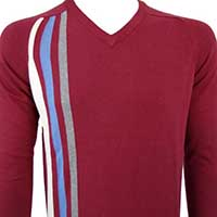 Stripes V-Neck Sweater in BURGUNDY by Warrior Clothing