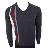 Stripes V-Neck Sweater in NAVY by Warrior Clothing