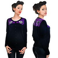 Graveyard Embroidered Cardigan by Too Fast Clothing - SALE sz M only