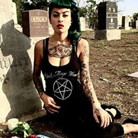Black Magic Woman Pentagram Racer Tank Top by Switchblade Stiletto
