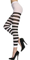 Opaque Black & White Stripes Footless Tights