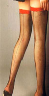 Fishnet Backseam Thigh High With Contrast Lace Tops (white/red only)
