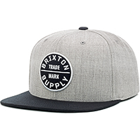 Oath III Snap Back Hat by Brixton- HEATHER GREY / BLACK (Sale price!)