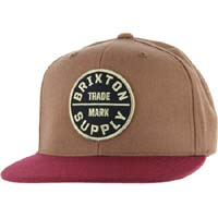 Oath Snap Back Hat by Brixton- CARAMEL / BURGUNDY (Sale price!)