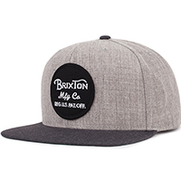 Wheeler Snap Back Hat by Brixton- LIGHT HEATHER GREY / CHARCOAL