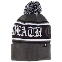 Death or Glory Pom Knit Hat / Beanie by Sourpuss Clothing - in gray/black