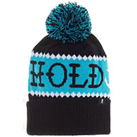 Hold Fast Pom Knit Hat / Beanie by Sourpuss Clothing - in blue/black