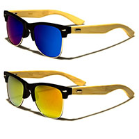 Sunglasses- BAMBOO ARM WITH MIRRORED LENS (Various Colors)