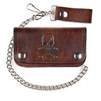"Skull & Crossbones Antique Brown Leather 6"" Trucker Wallet (Comes With Chain)"