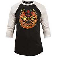 AC/DC- Highway To Hell on a black/white 3/4 sleeve shirt (Sale price!)