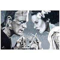 Amorous Libation Bride & Frankenstein Mike Bell -  Fine Art Print