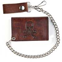 Skull & Crossbones Antique Brown Wallet (Comes With Chain)