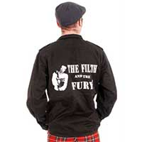 Black Army Shirt/Flak Jacket With Back Print by Tiger of London- The Filth And The Fury - sz Med only
