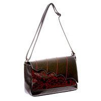 Bat Wing & Ivy Flocked Shoulder Bag by Banned Apparel