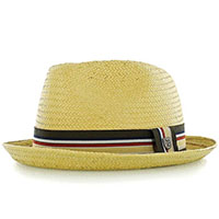 Castor Straw Hat by Brixton- Tan (Striped Band)