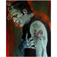 Brokenhearted Frankenstein Mike Bell -  Fine Art Print