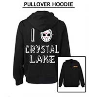 Friday The 13th- Famous Monsters Logo on front, I Heart Crystal Lake on back on a black pullover hooded sweatshirt