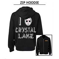 Friday The 13th- Famous Monsters Logo on front, I Heart Crystal Lake on back on a black zip up hooded sweatshirt