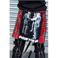 Red Plaid Bum Flap With Anarchy In The UK Print by Tiger Of London