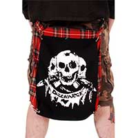 Red Plaid Bum Flap With Discharge Three Skulls Print by Tiger Of London