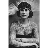 Vintage Tattooed Lady- Artoria Gibbon - Side Show Circus - Fine Art Print by Annex