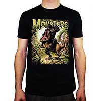 Famous Monsters Of FIlmland- King Kong Vs T Rex on a black ringspun cotton shirt