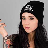 Happy Fucking Whatever Knit Hat / Beanie by Killstar