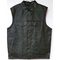 Black Leather Club Vest