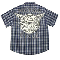 Eye Cycle Navy Plaid short sleeve button up shirt by Lucky 13