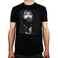 Dracula- Moonlit Face on a black ringspun cotton shirt
