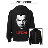 Dracula- Famous Monsters Logo on front, Face With Lugosi Logo on back on a black zip up hooded sweatshirt