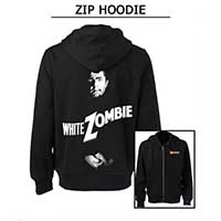 White Zombie- Famous Monsters Logo on front, Lugosi on back on a black zip up hooded sweatshirt