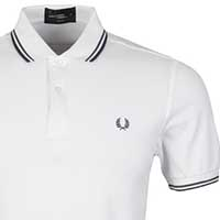 Fred Perry Classic Fit Twin Tipped Polo Shirt- WHITE / IVY / FRENCH NAVY (Sale price!)