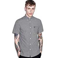 Classic Gingham Short Sleeve Shirt by Fred Perry- BLACK