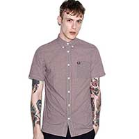 Classic Gingham Short Sleeve Shirt by Fred Perry- MAHOGANY