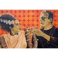 Made For Each Other Bride & Frankenstein Mike Bell -  Fine Art Print